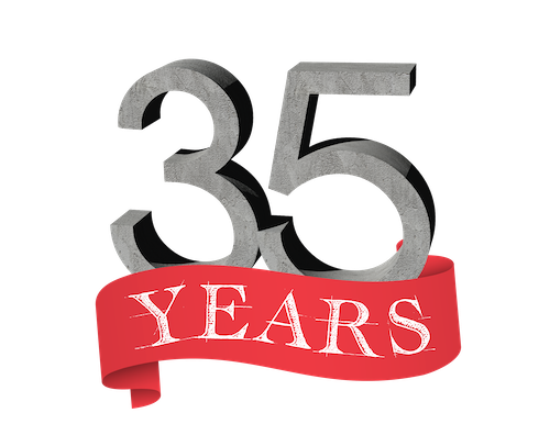 RUSH Construction 35 Years Logo
