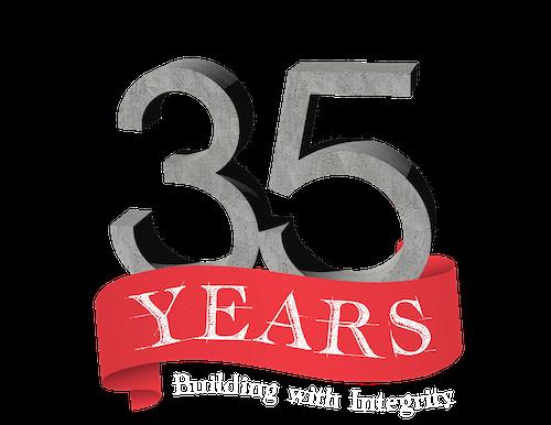 RUSH Construction 35 Years Logo