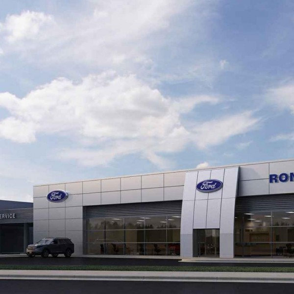 Ron Norris Ford Construction Usville Fl Rush Dealership Exterior Rendering