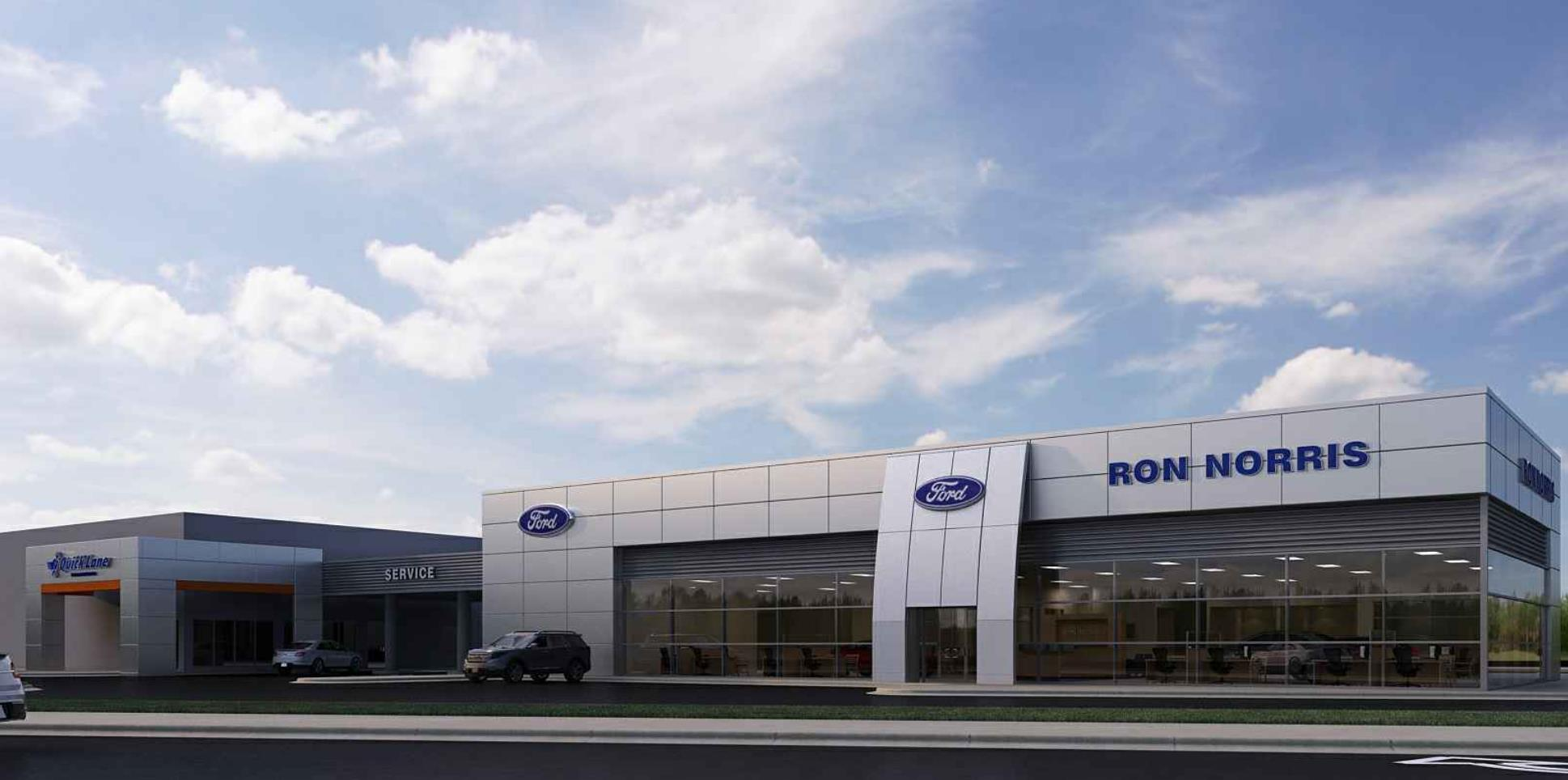 Ron Norris Ford Dealership Construction - Exterior Rendering - Titusville - RUSH Construction